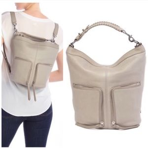 ALL SAINTS 2-in-1 Fetch Backpack Bag Taupe Grey